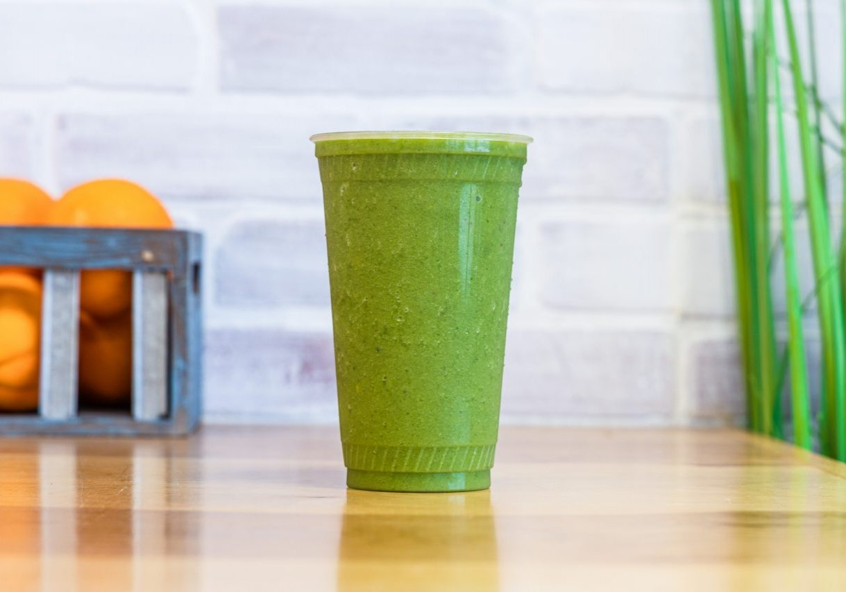 Tropical Greens Smoothie - Green tea, banana, kale, pineapple, mango, agave.